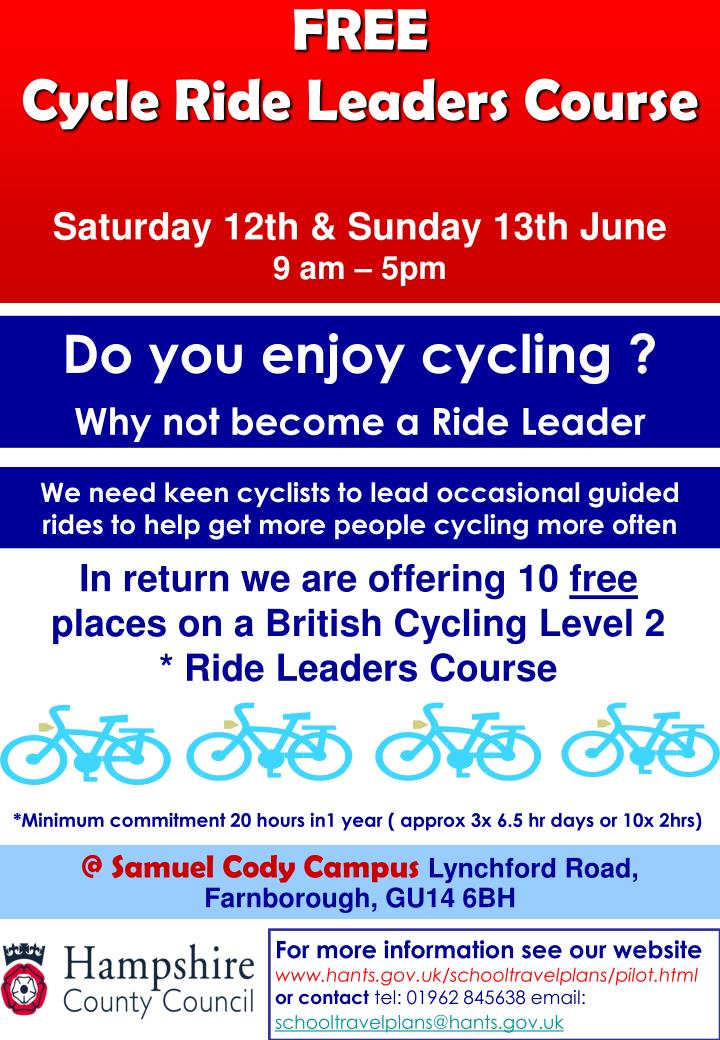 Free cycle ride leaders course saturday 12th sunday 13th june 9 am 5pm