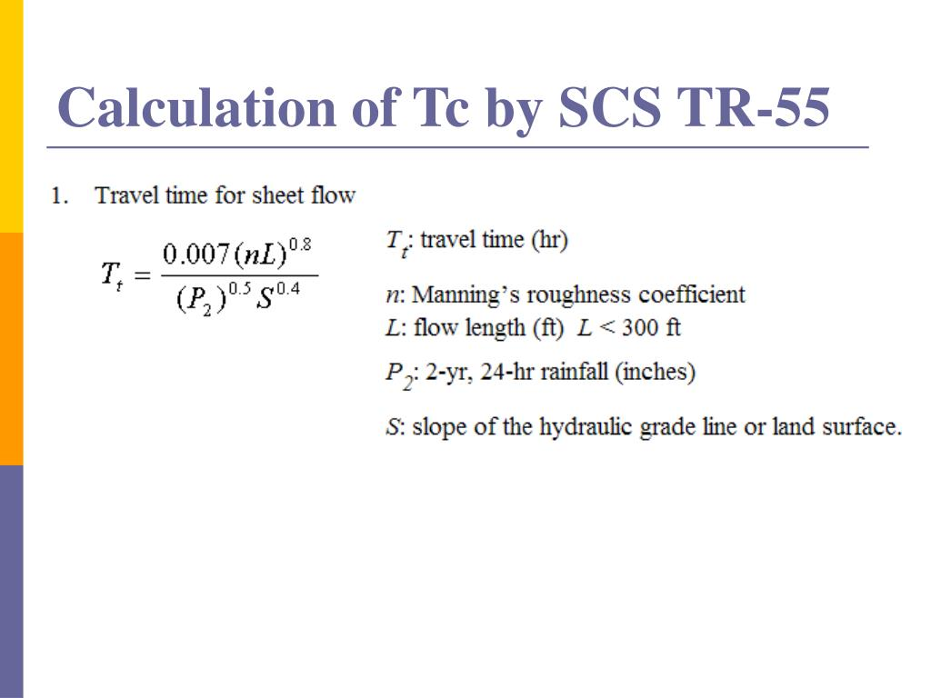 Calculation of Tc by SCS TR-55
