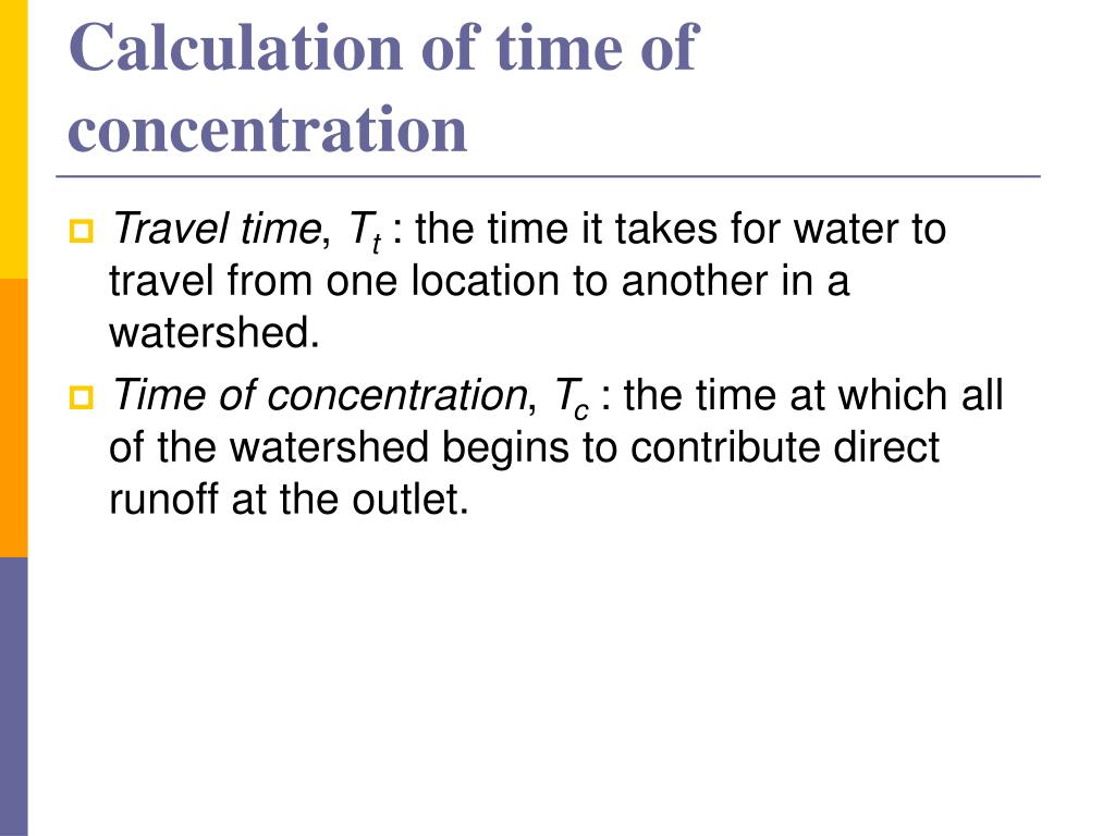 Calculation of time of concentration