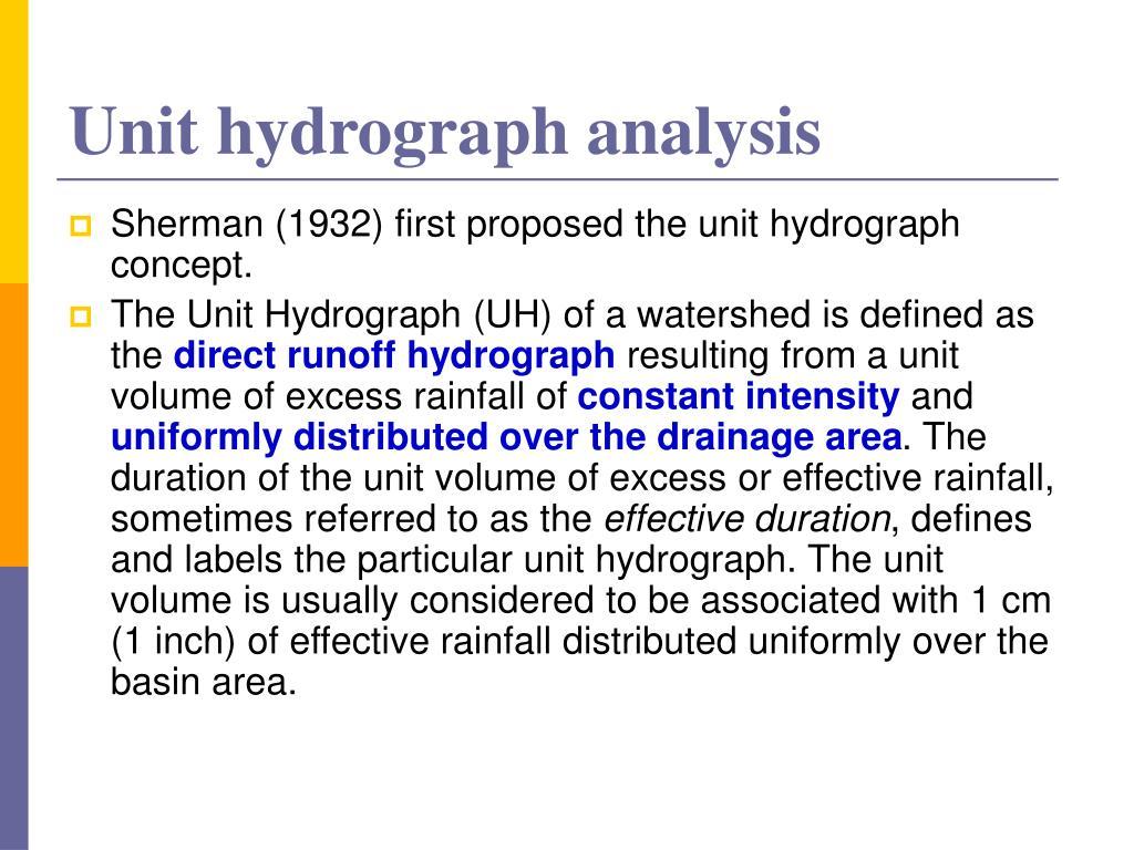 Unit hydrograph analysis
