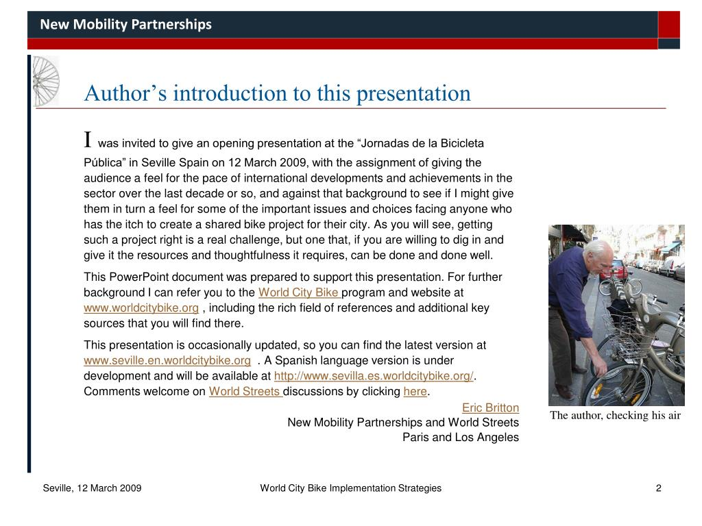 Author's introduction to this presentation