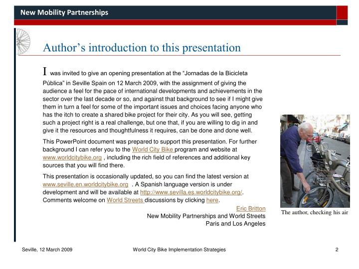 Author s introduction to this presentation