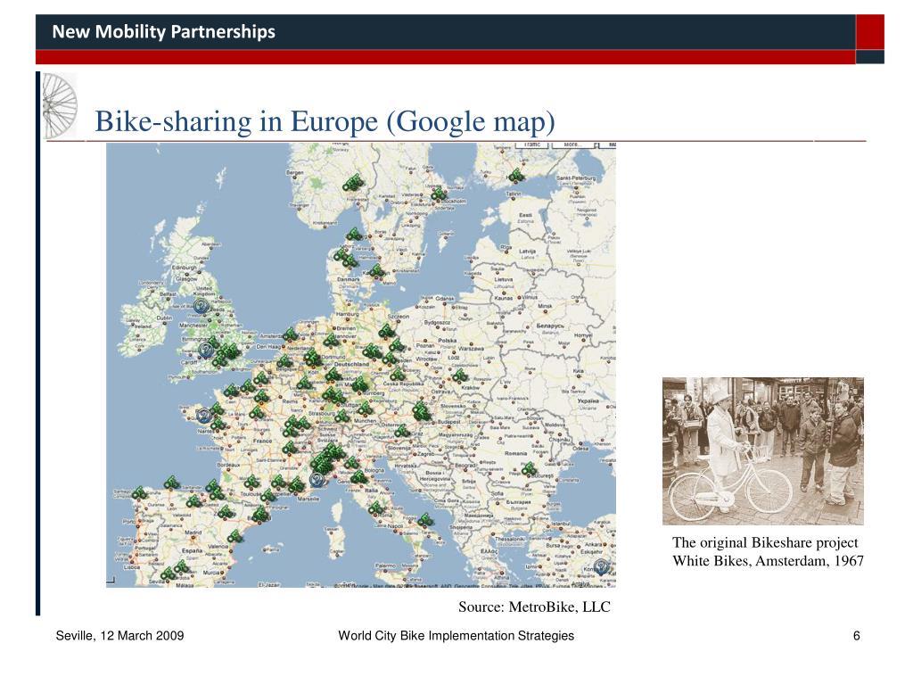 Bike-sharing in Europe (Google map)