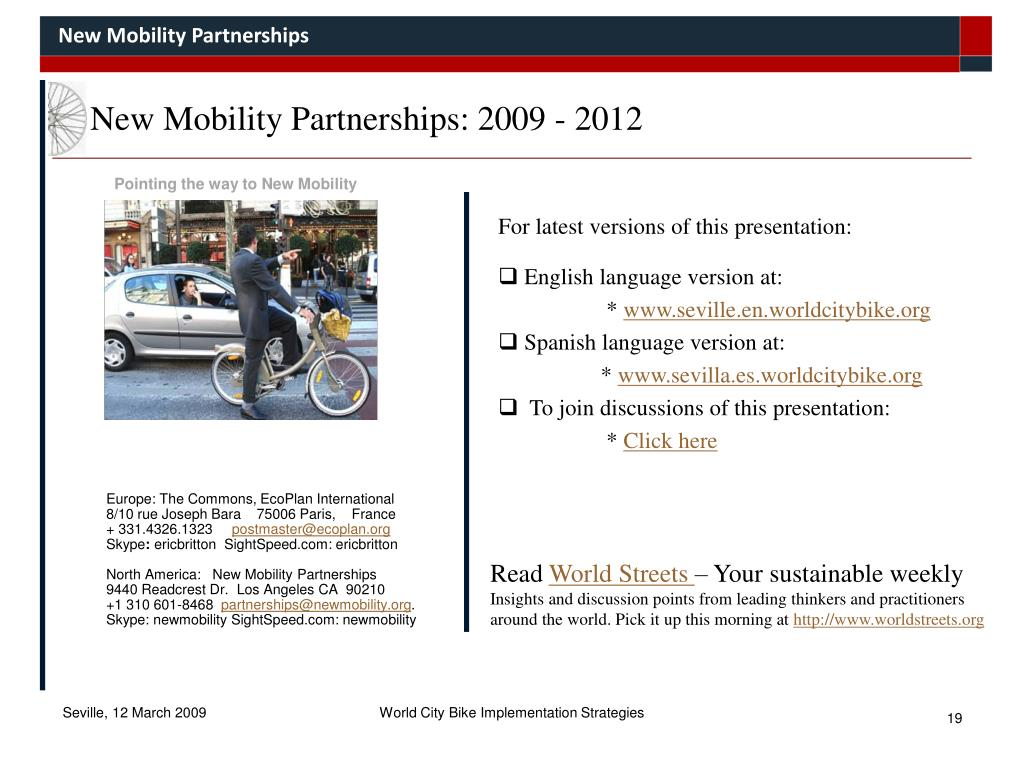 New Mobility Partnerships: 2009 - 2012
