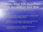 leaders what you do if there was an accident on your ride