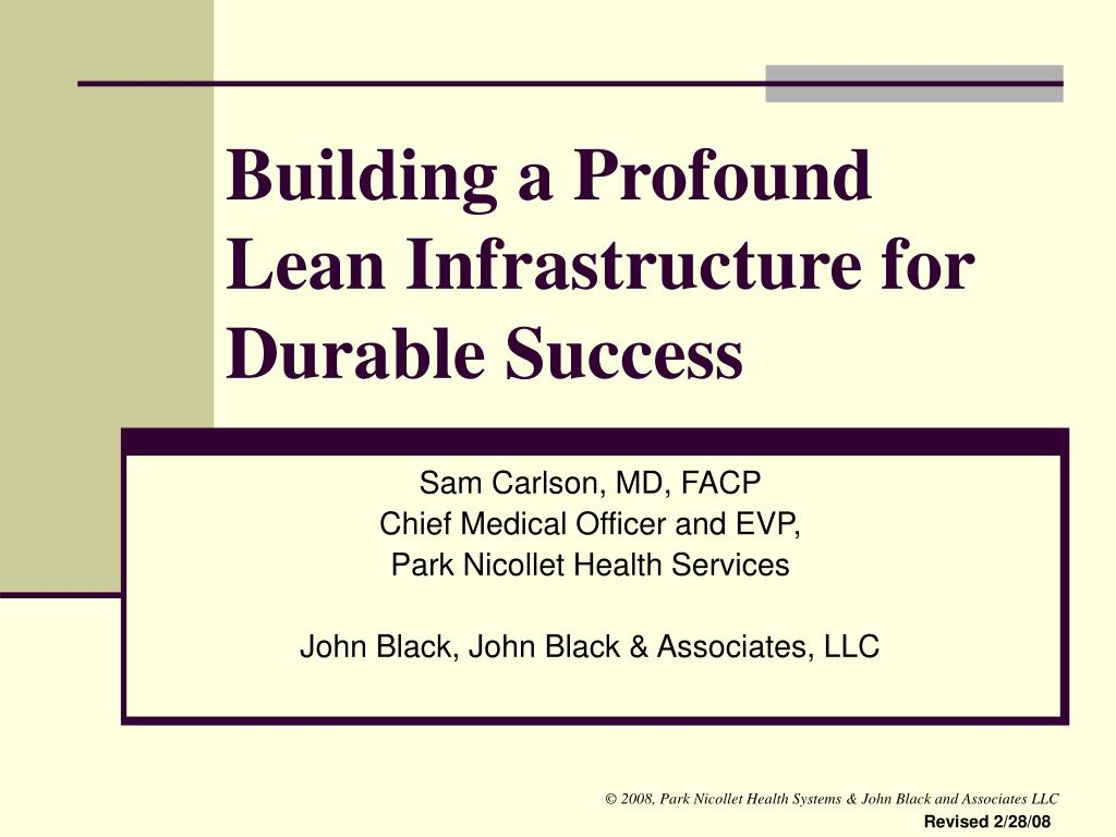 building a profound lean infrastructure for durable success l.