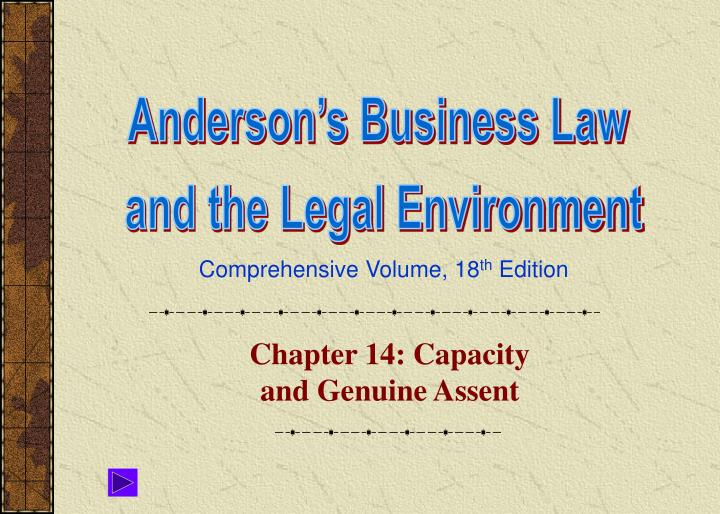 chapter 14 capacity and genuine assent n.