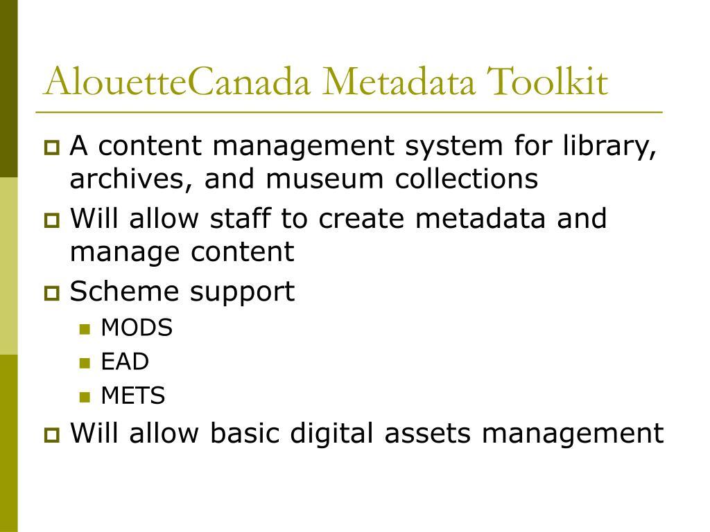 AlouetteCanada Metadata Toolkit