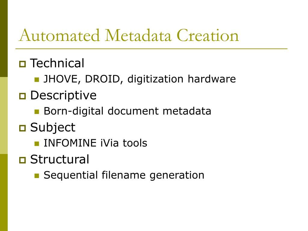 Automated Metadata Creation