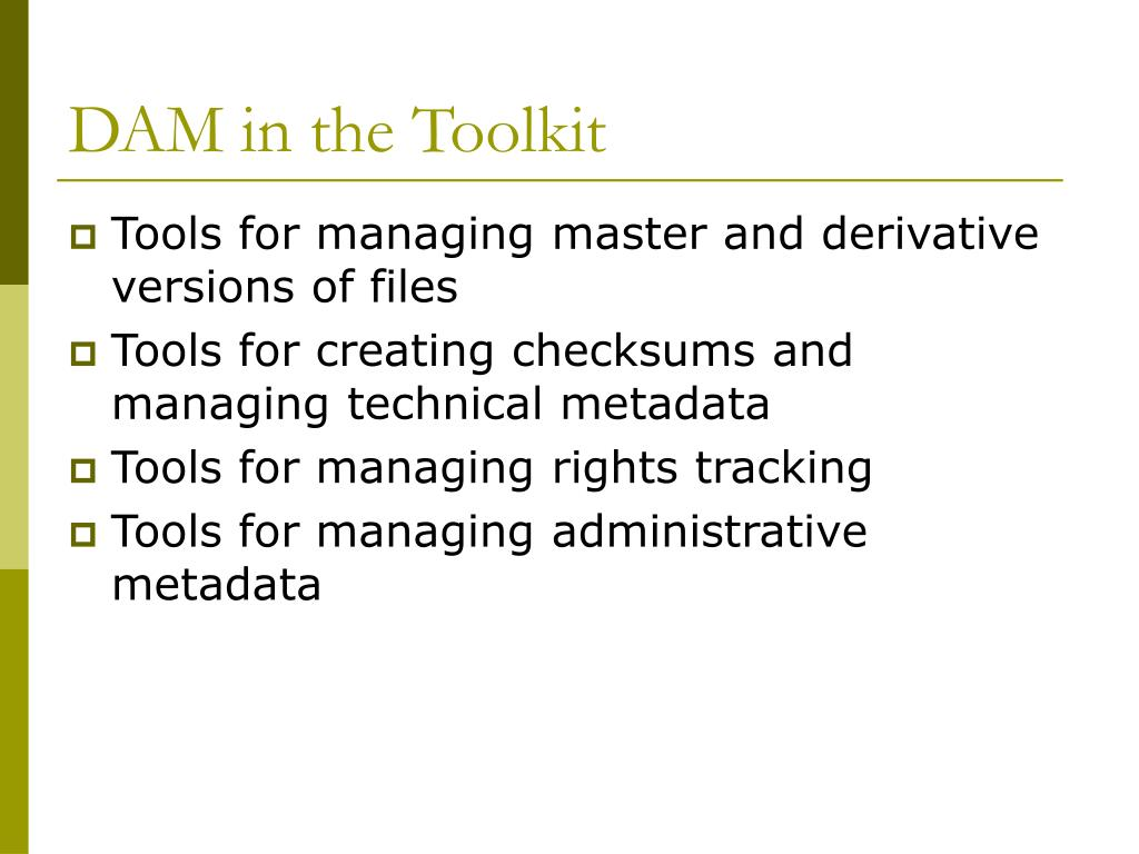 DAM in the Toolkit