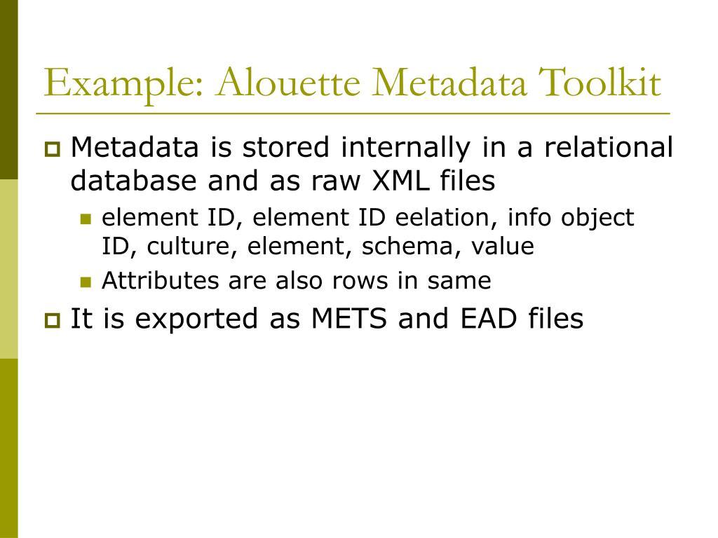 Example: Alouette Metadata Toolkit