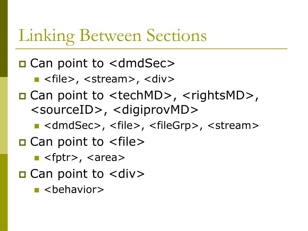 Linking Between Sections