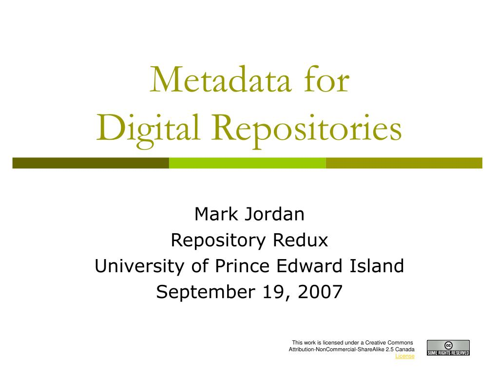 metadata for digital repositories l.