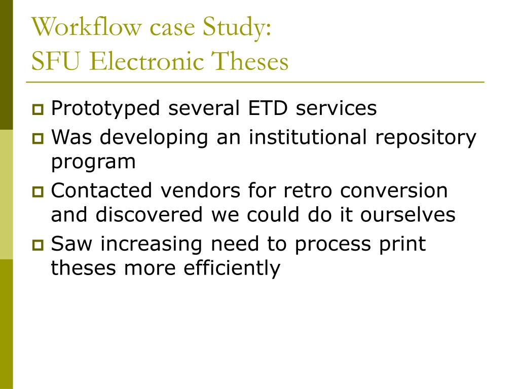 Workflow case Study: