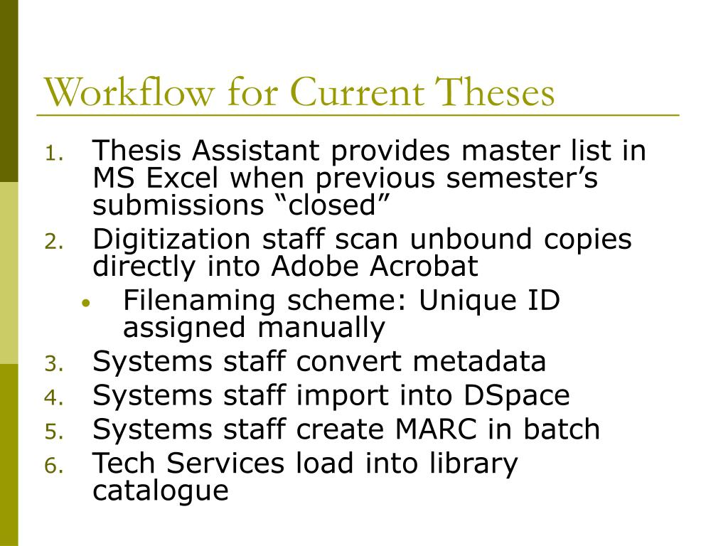 Workflow for Current Theses