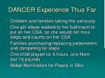 dancer experience thus far