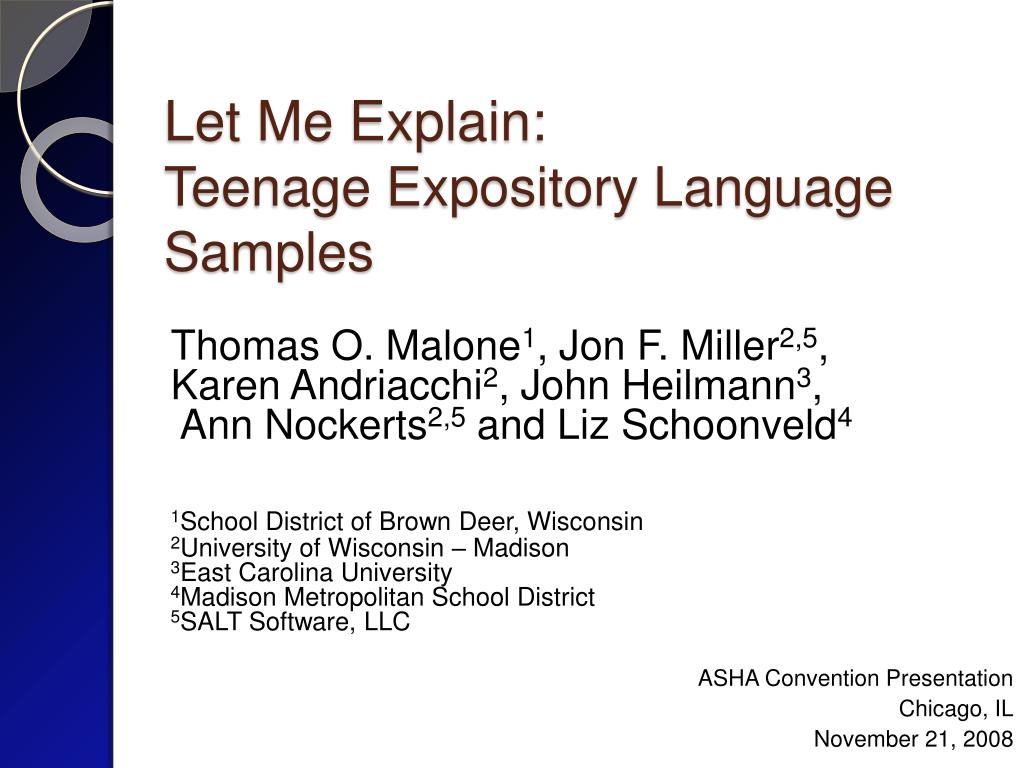 let me explain teenage expository language samples l.
