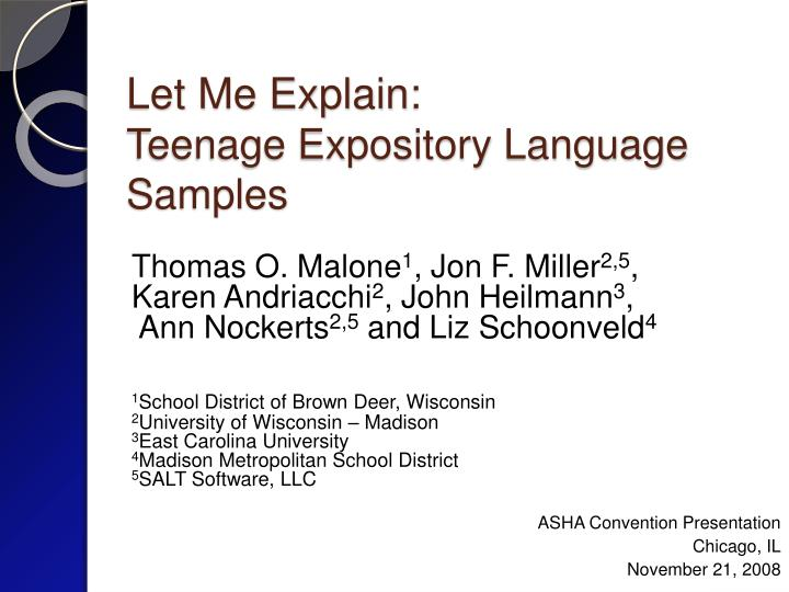 let me explain teenage expository language samples n.
