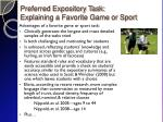 preferred expository task explaining a favorite game or sport