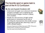 the favorite sport or game task is part of the k 12 curriculum