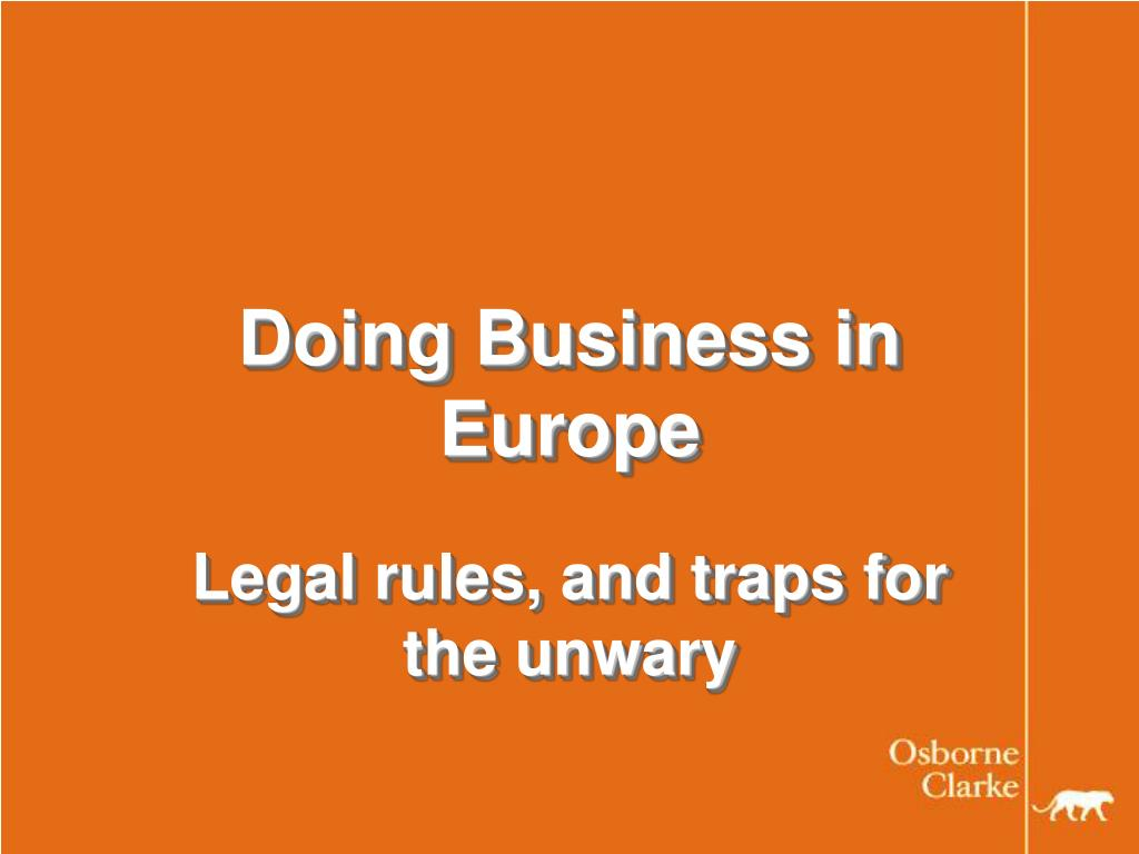 doing business in europe l.