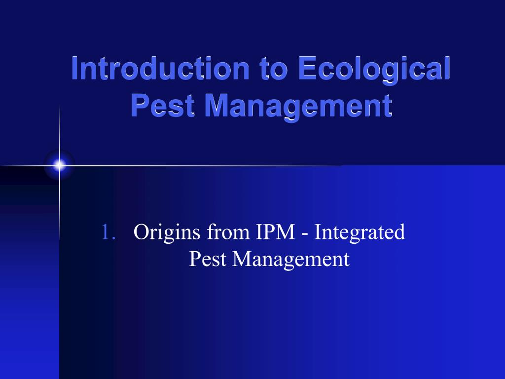 introduction to ecological pest management