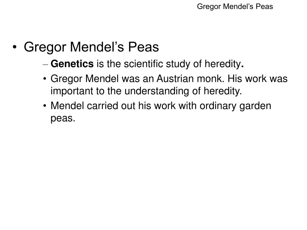 the work of gregor mendel biology