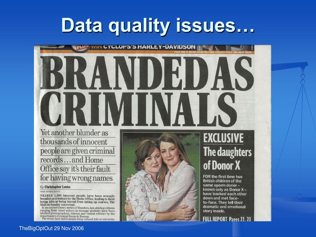 Data quality issues…
