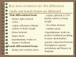 key areas of interest are sex differences male and female brains are different