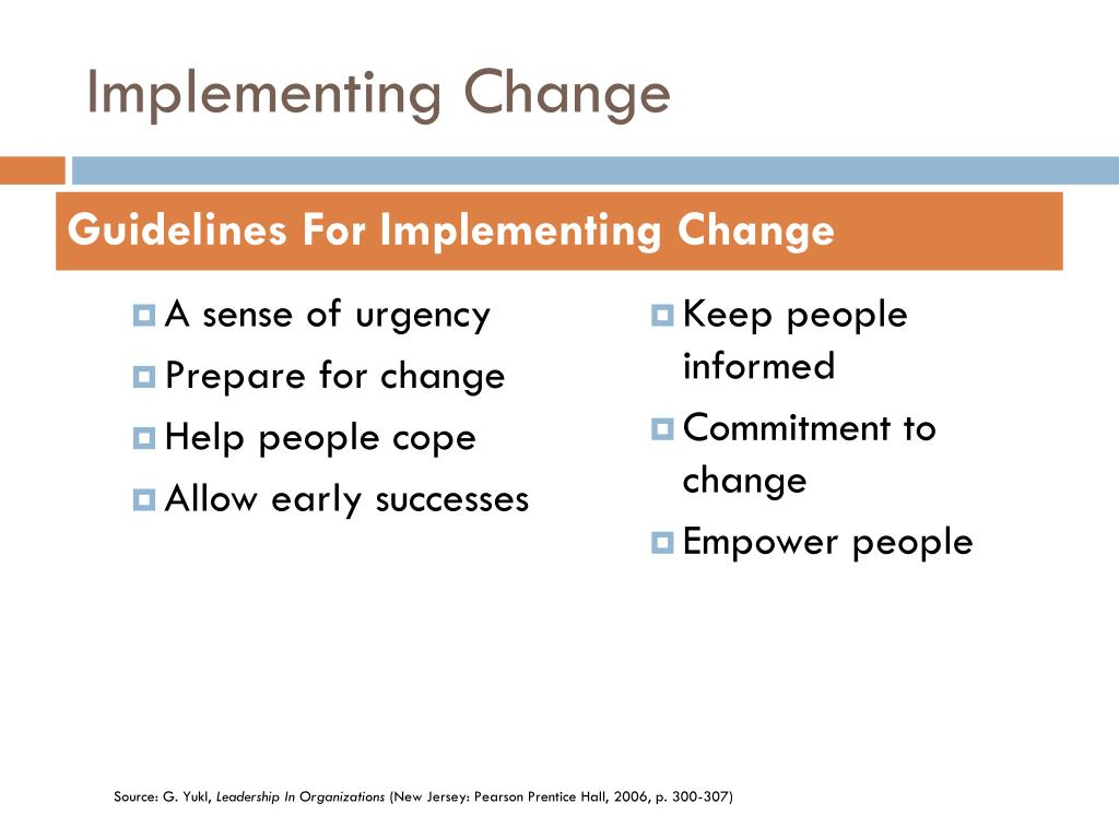 implementing change Introducing technological change into an organization presents a different set of challenges to management than does the work of competent project administration.