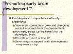 promoting early brain development