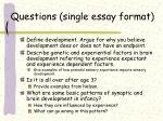 questions single essay format