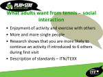 what adults want from tennis social interaction