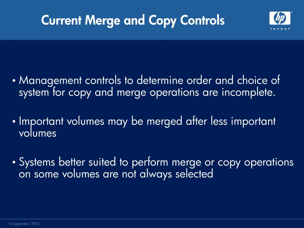 Current Merge and Copy Controls