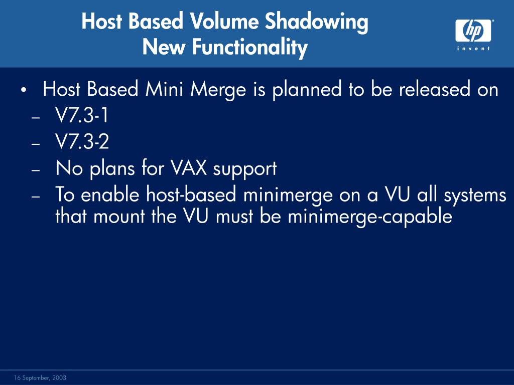 Host Based Mini Merge is planned to be released on