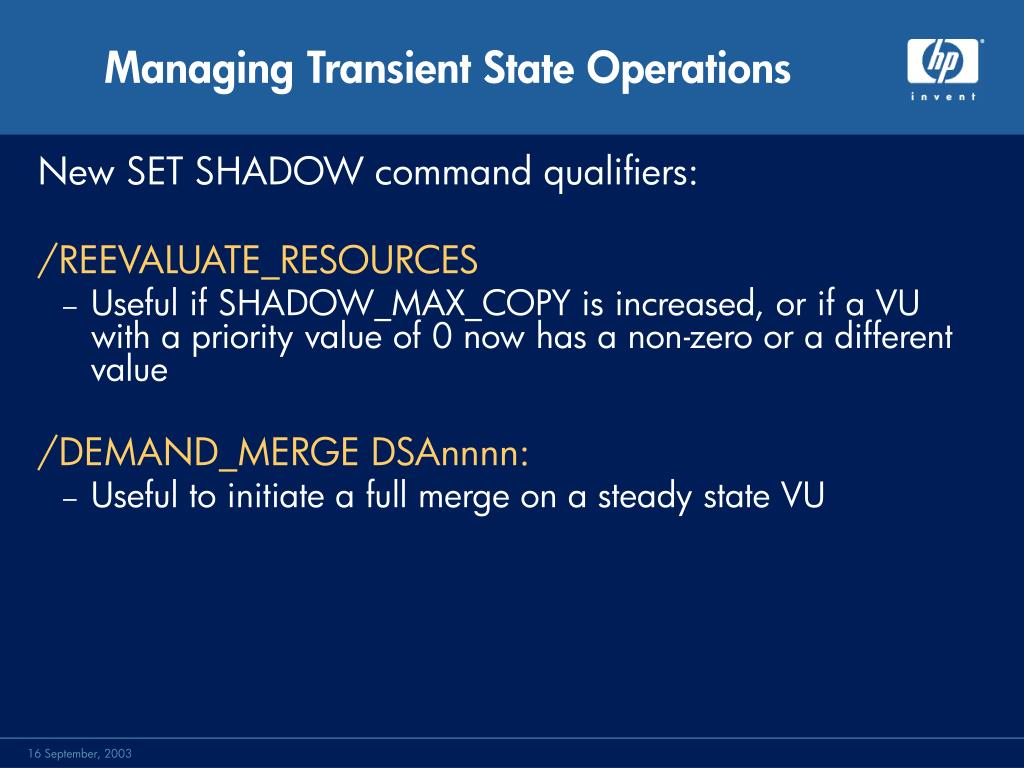 Managing Transient State Operations