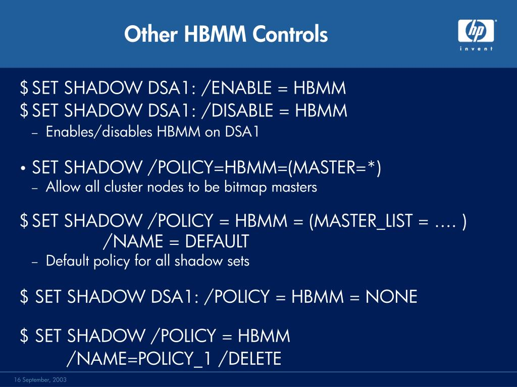 Other HBMM Controls