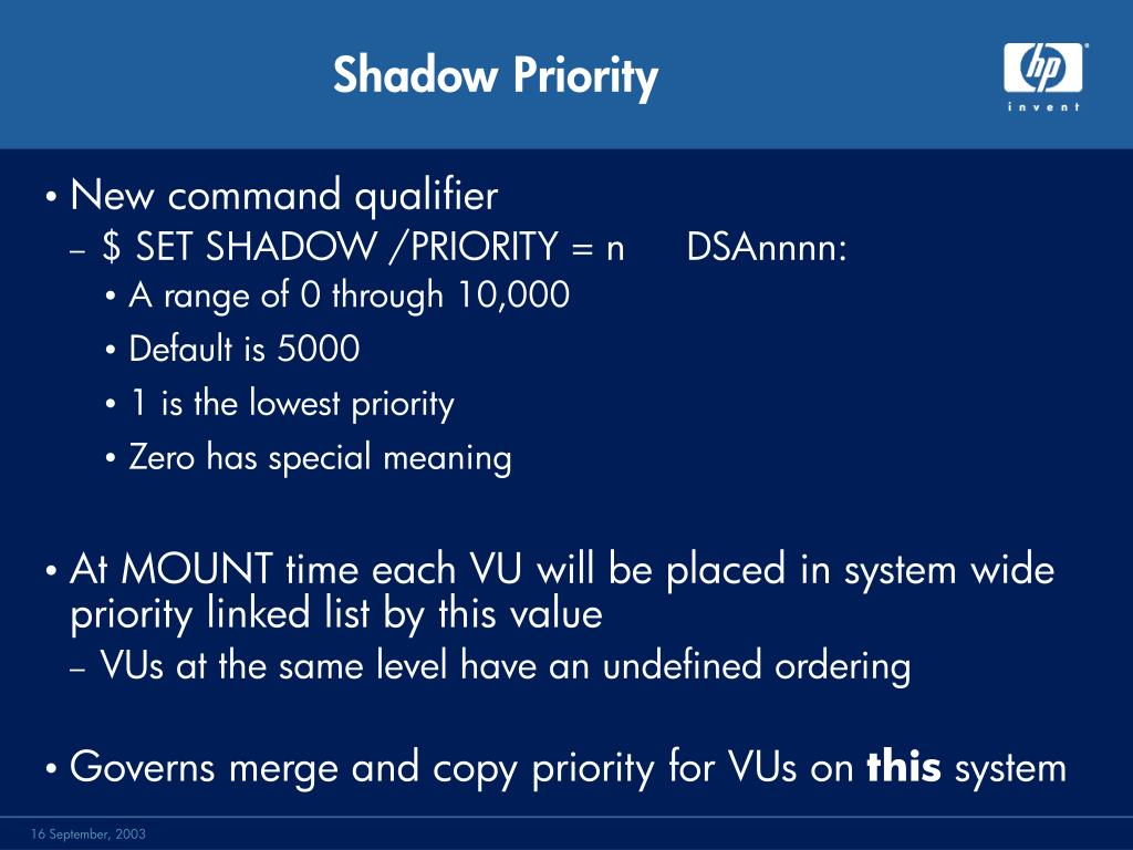 Shadow Priority
