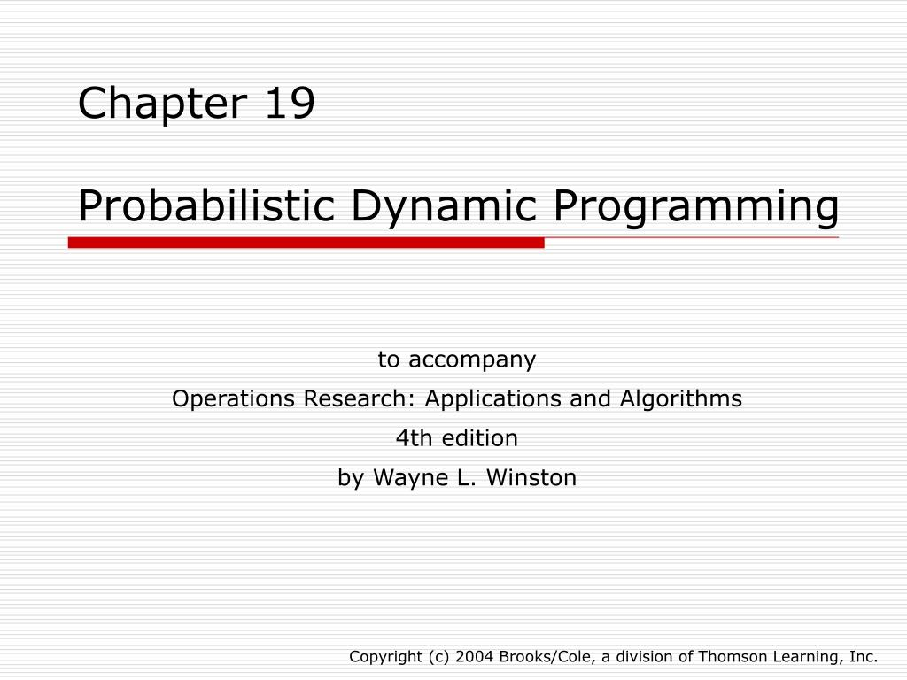 PPT - Chapter 19 Probabilistic Dynamic Programming