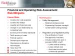 financial and operating risk assessment risk mitigants