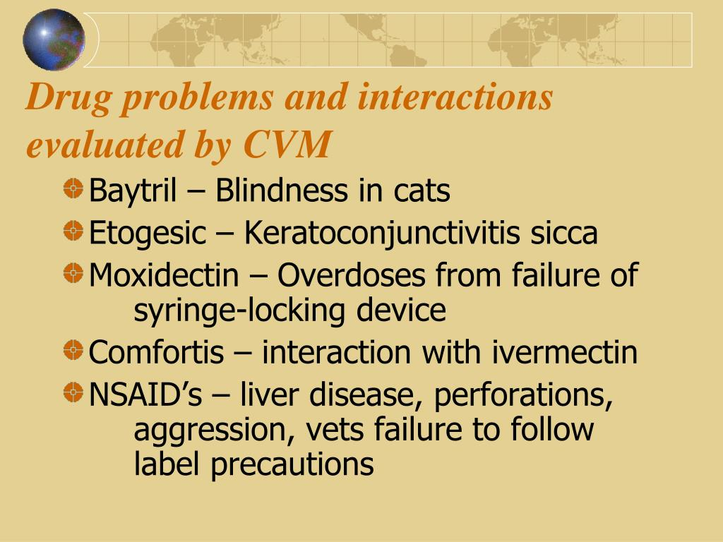 Drug problems and interactions evaluated by CVM