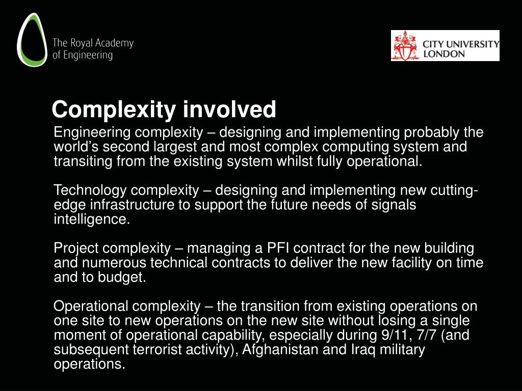 Complexity involved