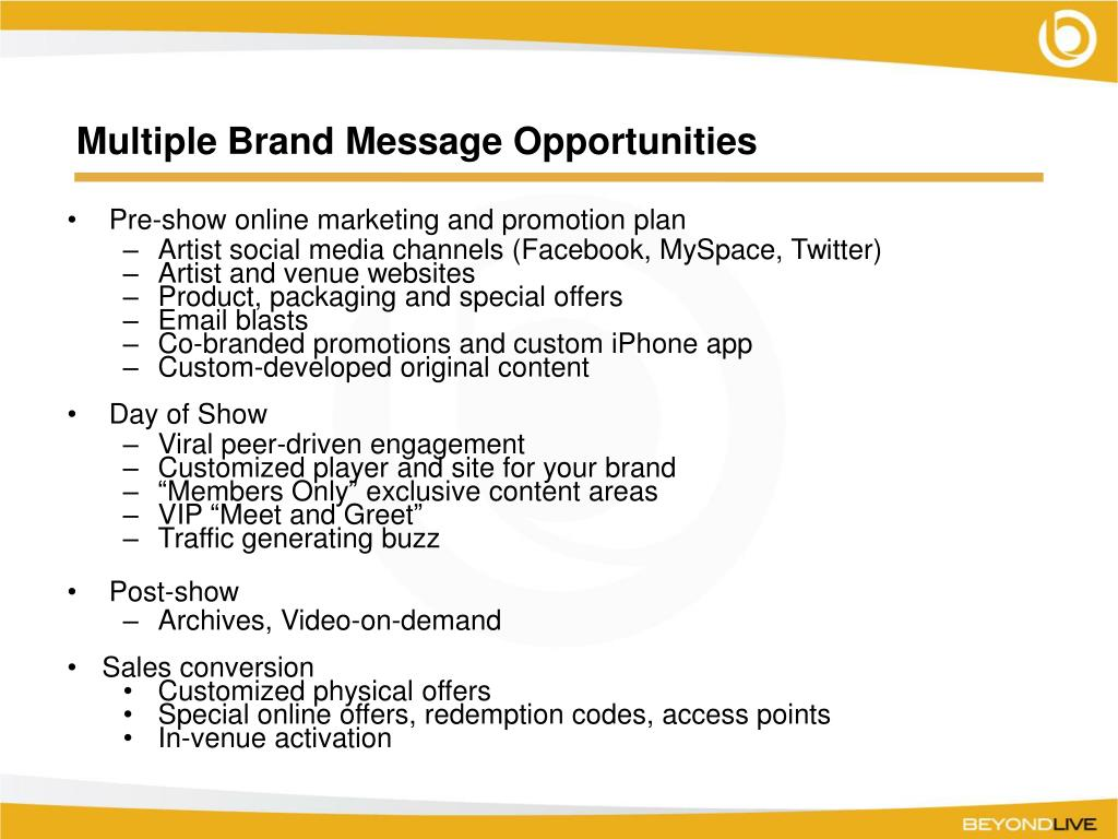 Multiple Brand Message Opportunities