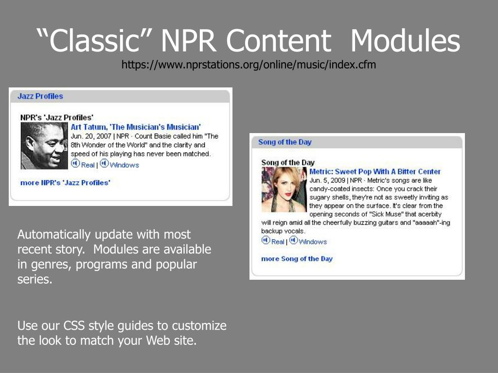 """Classic"" NPR Content  Modules"