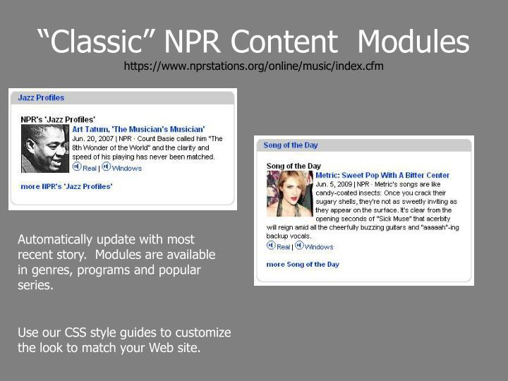 Classic npr content modules https www nprstations org online music index cfm