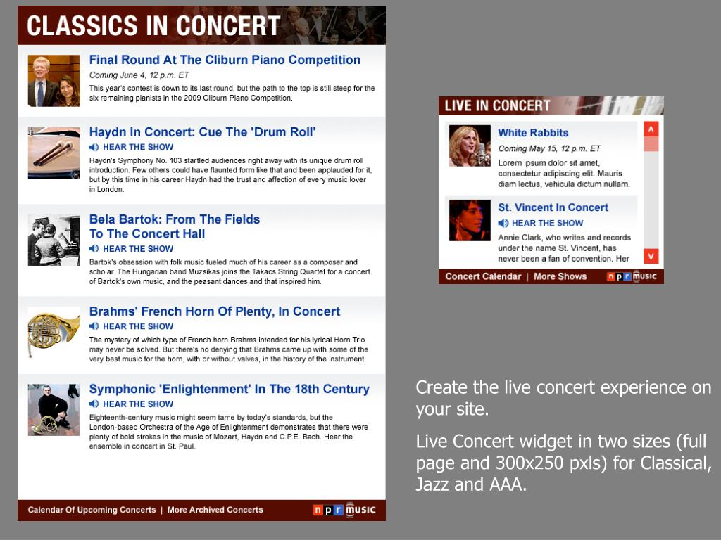 Create the live concert experience on your site.