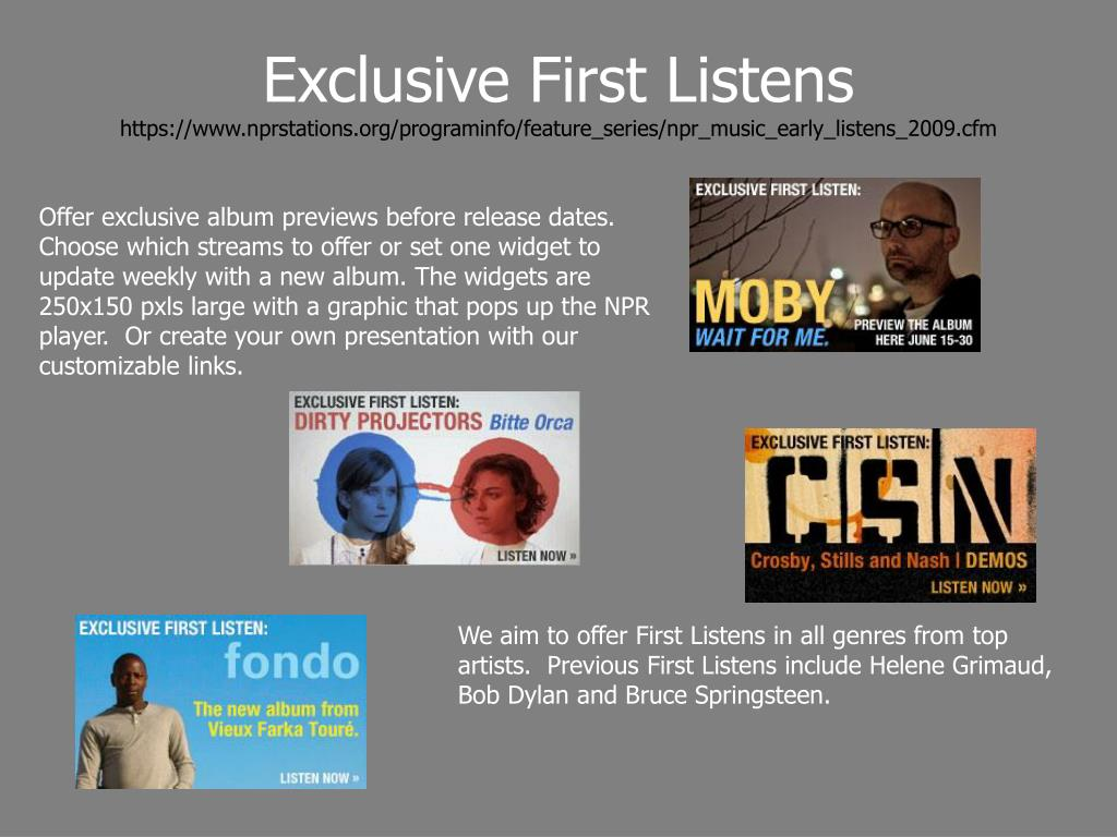 Exclusive First Listens