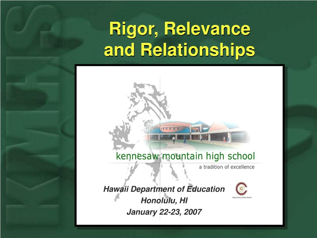 Rigor, Relevance                    and Relationships