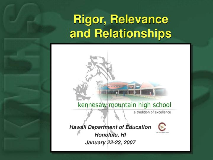 Rigor relevance and relationships