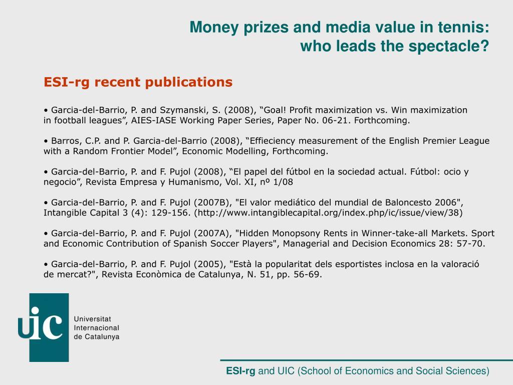 ESI-rg recent publications